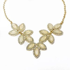 Floral Crystal Statement Pendant Choker Necklace